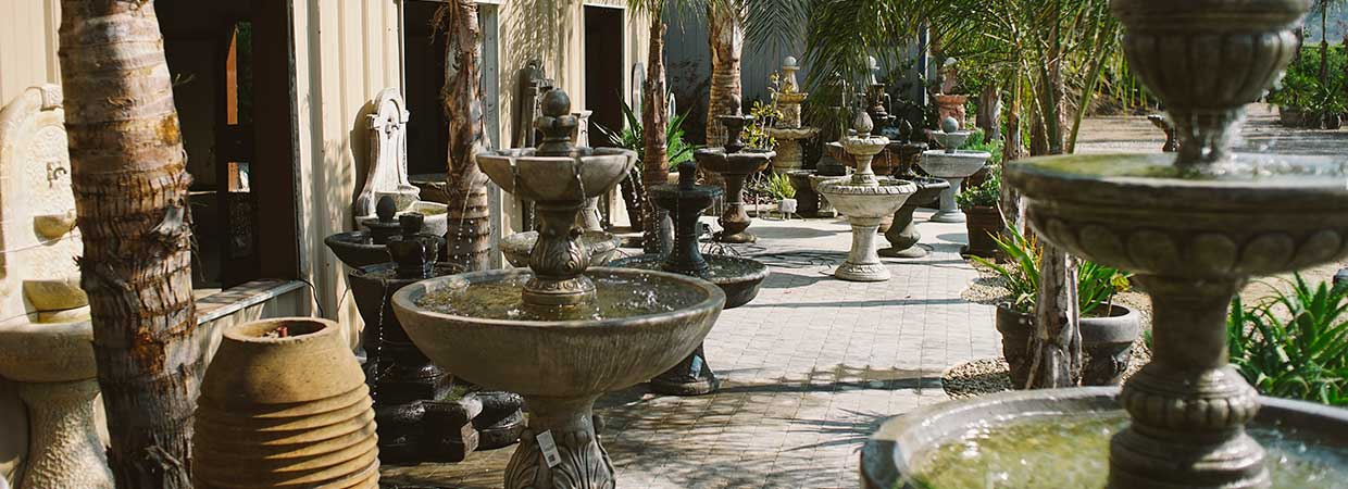 dozens of fountains in nursery